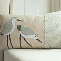 Handmade wading seaside bird cushions with wool woven in Wales