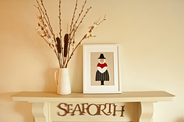 Handmade Welsh lady applique picture