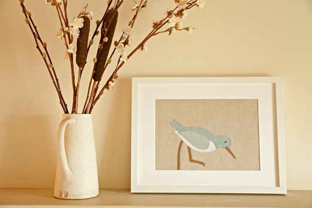 Handmade Blue Oystercatcher applique picture
