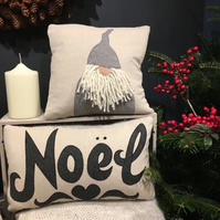 Handmade Noel cushion with British tweed.