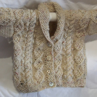 Hand knitted Scottish Aran cardigan,toddlers cardigan, hand made in Scotland