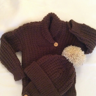 Hand knitted jumper and bobble hat set for boys