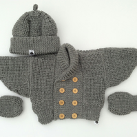 Baby's vintage Grey Merino double breasted jacket set