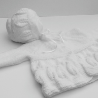 Hand knitted matinee coat and bonnet