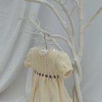 Cream merino dress for baby girl