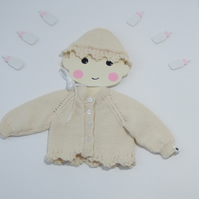 Hand knitted vintage style cardigan and bonnet for girls