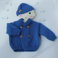 Hand knitted  jacket and Hat forboys