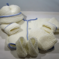 Premmie set in merino hand knitted