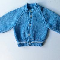 Blue merino cardigan hand knitted in Scotland