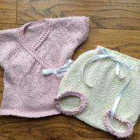 Hand knitted alpaca bloomer set for girls