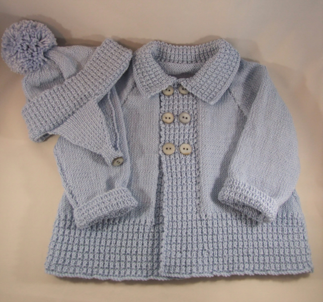 Hand knitted luxury vintage style coat and hat set