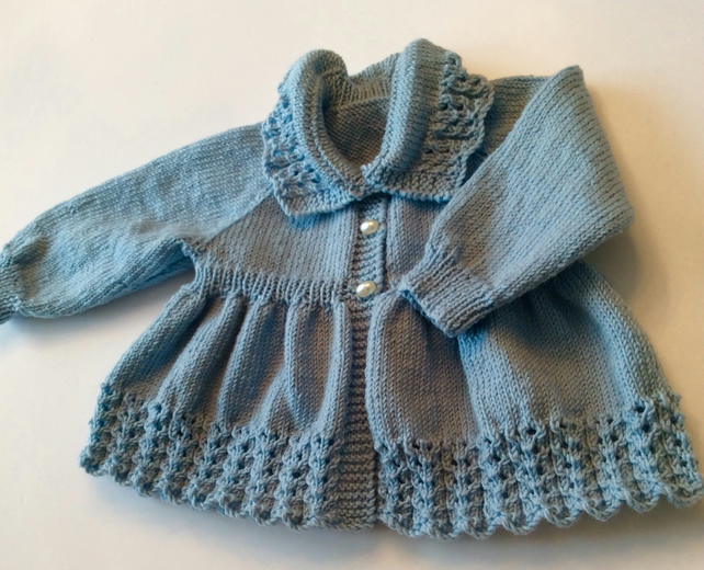 75ef1a2fe9e2 Hand knitted matinee coat in merino wool (SOLD) - Folksy