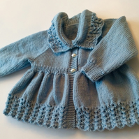 Hand knitted matinee coat in merino wool   (SOLD)