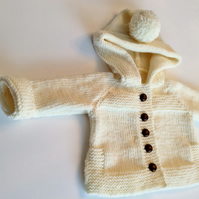 Hand knitted baby hoody in merino wool,warm jacket in white,hand made