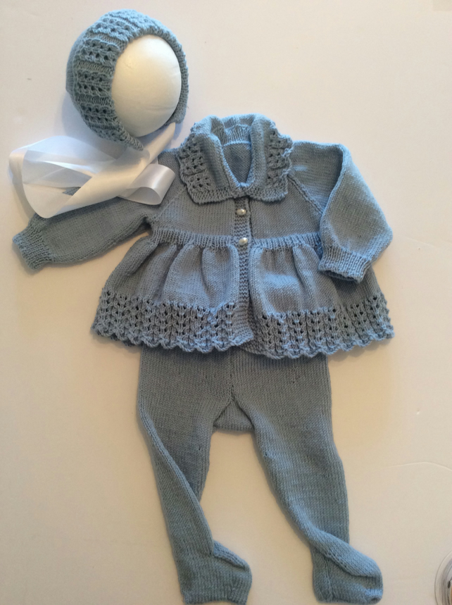Babys pram suit hand knitted from vintage patterns