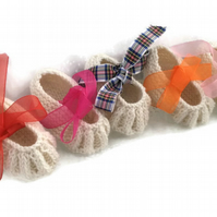 Hand knitted Cashmere baby slippers