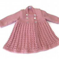 Baby coat in merino wool hand knitted vintage style coat