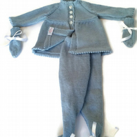 Babies hand knitted vintage pattern pram suit