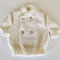 Hand knitted merino jacket for babies 6 months