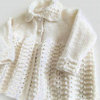 Hand knitted babys matinee coat,baby coat,traditional baby,vintage baby knits