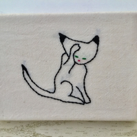 Mini Cat Canvas : Cat Washing