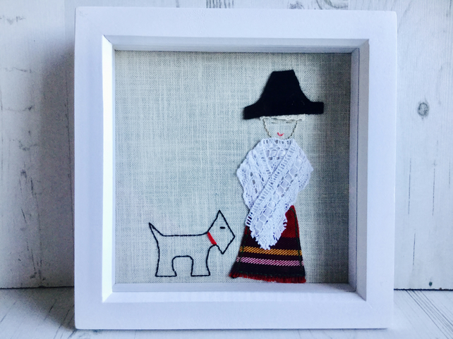 Welsh Lady with little dog picture