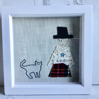 Welsh lady with little cat picture