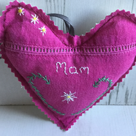 Hanging Heart for Mother Hand Embroidered with Flowers