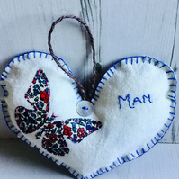 Hanging Heart for Mother with Butterfly