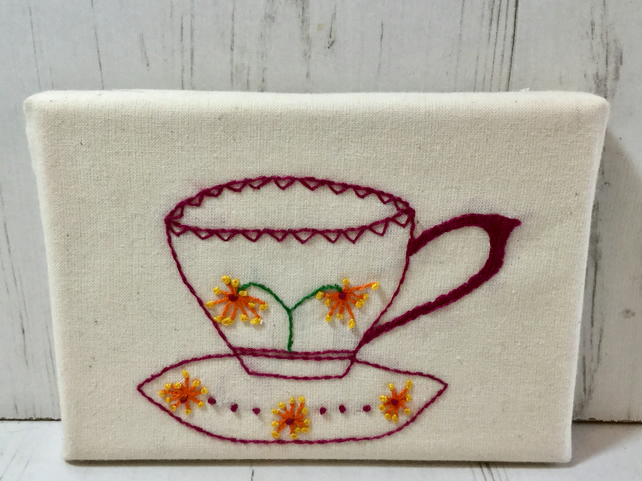 Tea Cup Canvas Orange Floral