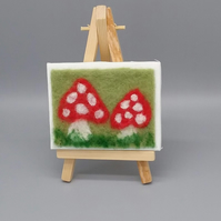 Fly Agaric Mushroom miniature needle felt picture with easel Spotty toadstool