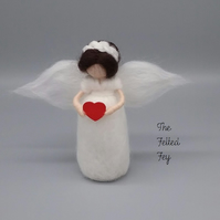 Needle Felt Angel Heart Decor Mothers Day Valentines Fairy Felted Vintage Shabby
