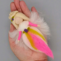 Hanging Wool Angel Fairy Waldorf Inspired Needle Felted Decoration Neon Pink