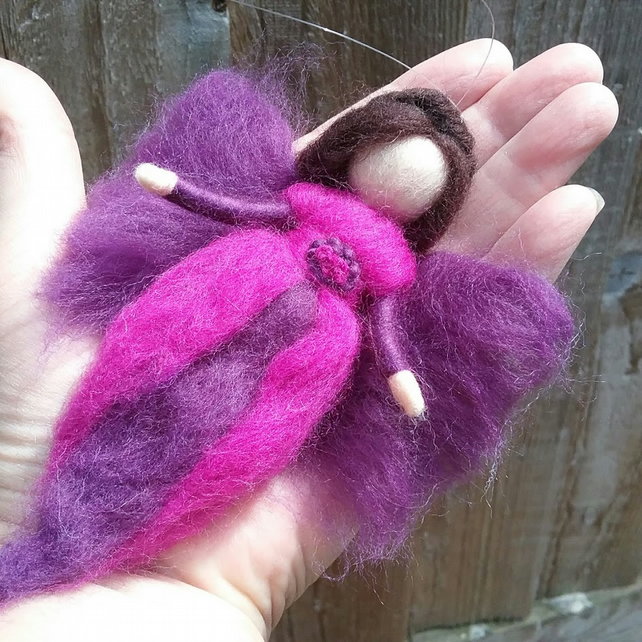 Hanging Wool Angel Fairy Waldorf Inspired Needle Felted Decoration Purple