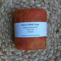 Felted Soap Orange Scented essential oil organic washcloth exfoliating
