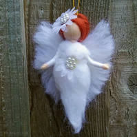 Hanging Wool Fairy Angel Waldorf Inspired Needle Felted Christmas Decoration