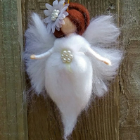 Hanging Wool Angel Fairy Waldorf Inspired Needle Felted Christmas Decoration