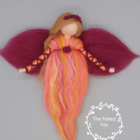 Needle felt fairy,  Autumn fairy, Wool fairy, Waldorf Fairy, room decor