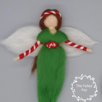 Needle felt fairy, Christmas fairy, Wool fairy, Needle felt elf, candy cane