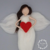 White Hanging Wool Angel holding a red heart personalized gift