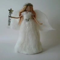 Needle Felted Angel Christmas Tree Topper Silver Tinsel