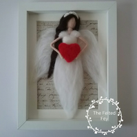 Needle felted Angel Wall Art, Felt Picture, Felt Wall Decor, Framed Angel