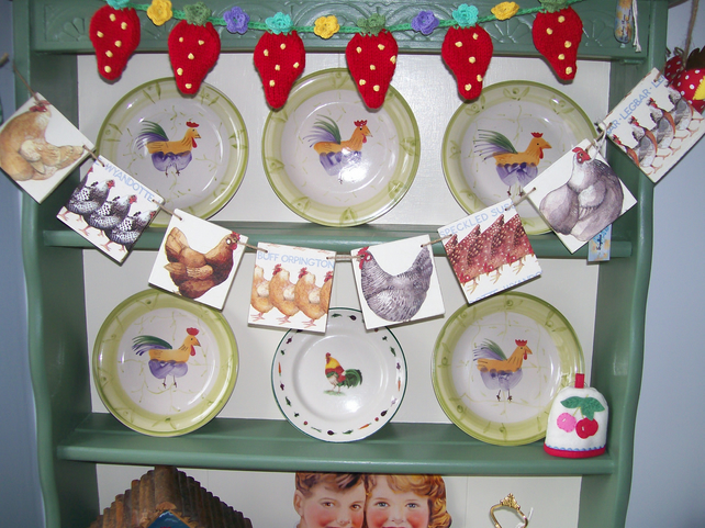 Handcut Wooden Bunting Emma Bridgewater Chickens Design Dresser Display Gift