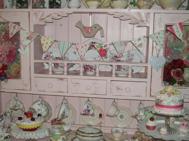Handcrafted Wooden Bunting Vintage Style Cath Kidston Design Dresser Display