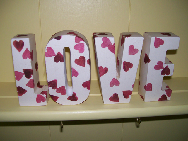 SHABBY CHIC LOVE LETTERS MADE USING EMMA BRIDGEWATER HEARTS DESIGN SHELF DISPLAY