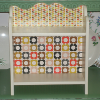 Handcrafted Wooden Shelf Unit Storage made with Orla Kiely Design Retro Vintage