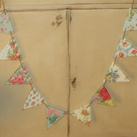Handcrafted Unique Wooden Bunting made using Cath Kidston Design Shabby Chic