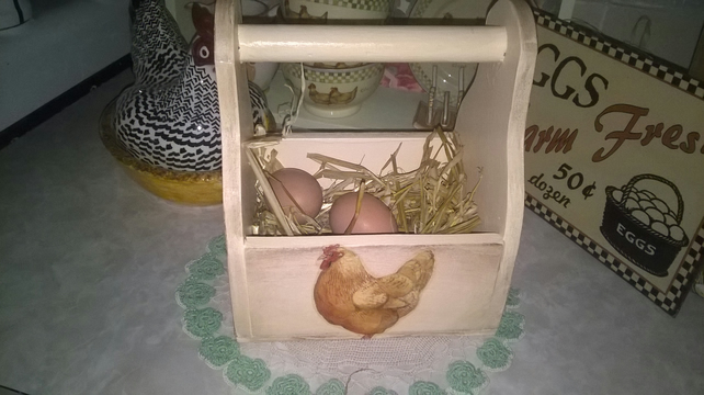 Handcrafted Wooden Egg Box Made with Emma Bridgewater Chicken Design Storage
