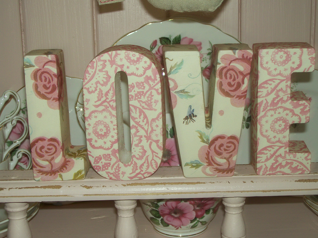 Handcrafted Freestanding LOVE letters. Made with Emma Bridgewater Rose & Bee Des