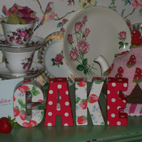 Handcrafted Freestanding CAKE letters made uding Cath Kidston Design Shabby Chic